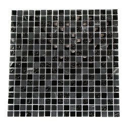 "Nightlight Black Blend Marble & Glass Tile - NIGHTLIGHT BLACK BLEND 1/2"" X 1/2"" GLASS TILES The smooth glass and stone combination creates a beautifully multi-dimensional effect. Great to install in kitchen back splashes, bathrooms, and any decorated spot in your home. The mesh backing not only simplifies installation, it allows the tiles to be separated which adds to their design flexibility. Chip Size: Squares 1/2"" x 1/2"" Color: Dark Gray and Black Material: Stone and Glass Finish: Polished, Frosted, and Iridescent Sold by the Sheet - each sheet measures 12"" x 12"" (1sq.ft) Thickness: 8mm"