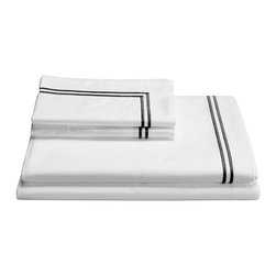 Frontgate - Frette Hotel Classic Sheet Set - 100% Egyptian cotton percale. Artfully detailed by master Italian weavers in the tradition of fine Italian linens. Machine wash; tumble dry low. Our luxurious Hotel Classic Sheet Set from Frette features pure white, crisp Egyptian cotton, finished with a distinctive two-line border, confirming that the best things in life are often the simplest. Super soft and long lasting, these sheets make for a most serene and comfortable sleep.  .  .  . Made in Italy.