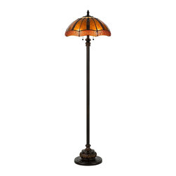 "Cal Lighting - Arts and Crafts - Mission Golden Sunset Bronze and Mica Tiffany-Style Floor Lamp - Rich detail and a range of amber colors in this Tiffany-style floor lamp give off a warm and inviting glow reminiscent of a beautiful sunset. This striking piece is a luxe touch for any room. Resin construction. Oiled bronze finish. Tiffany-style mica shade. Two maximum 60 watt or equivalent bulbs (not included). Twin pull chain switches. 61"" high. Shade is 8"" across the top 18"" across the bottom. Base is 11"" wide.  Cast resin and metal construction.  Oiled bronze finish.  Tiffany-style mica shade.  A Cal Lighting floor lamp design.  Two maximum 60 watt or equivalent bulbs (not included).  Twin pull chain switches.  61"" high.  Shade is 18"" diameter x 8"" high.  Base is 11"" wide."