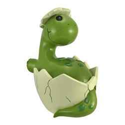 Hatching Baby Brontosaurus Dinosaur Jumbo Coin Bank - This adorable coin bank features a hatching baby brontosaurus, entering the prehistoric world, wide eyed and smiling. Made of cold cast resin, it measures 13 1/2 inches tall, 10 inches long, 8 inches wide, and empties via a plastic plug on the bottom. The bank is lovingly hand painted, adding to its whimsical quality. It makes a great baby shower gift, birthday gift, or holiday gift, and is sure to be admired.