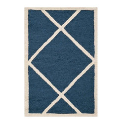 Safavieh - Babette Hand Tufted Rug, Navy / Ivory 2' X 3' - Construction Method: Hand Tufted. Country of Origin: India. Care Instructions: Vacuum Regularly To Prevent Dust And Crumbs From Settling Into The Roots Of The Fibers. Avoid Direct And Continuous Exposure To Sunlight. Use Rug Protectors Under The Legs Of Heavy Furniture To Avoid Flattening Piles. Do Not Pull Loose Ends; Clip Them With Scissors To Remove. Turn Carpet Occasionally To Equalize Wear. Remove Spills Immediately. Bring classic style to your bedroom, living room, or home office with a richly-dimensional Safavieh Cambridge Rug. Artfully hand-tufted, these plush wool area rugs are crafted with plush and loop textures to highlight timeless motifs updated for today's homes in fashion colors.