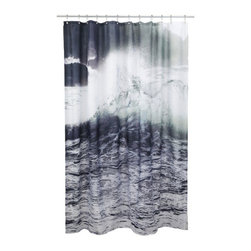 Wave Shower Curtain - Shower Curtain with Wave photo print.