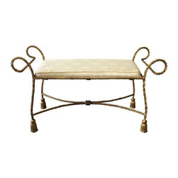 Pre-owned Italian Gold Gilded Tassel & Rope Bench - Fabulous Italian gold gilded rope tassel design bench with off white shell motif fabric seat cushion. Great classic piece with amazing details!