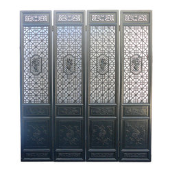 "Golden Lotus - Chinese Black Geometric Flower Pattern Wooden Screen Panel - Dimensions:   w16.5"" each panel x thickness 1.5"" x h78.5"""