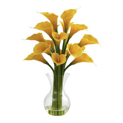 "Nearly Natural - Galla Calla Lily w/Vase Arrangement - Some people like exotic, and some people like classic. And if you're one of those people that wants a little of both, this Galla Calla Lily arrangement fits the bill and then some. Standing 26"" high from its glass vase (complete with faux water), this loving reproduction has a professional, classic look and feel, making it perfect for the office (or anywhere else you want some elegance.)"