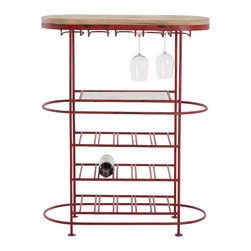 Arteriors - Hetty Bar Cart - The oval Hetty Bar Cart provides storage for a variety of bar essentials. The distressed red iron frame features a natural wood top and an antiqued mirrored shelf. Load up your favorite libations and let the party begin.