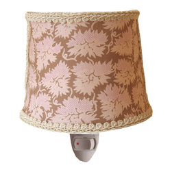 Dawn Estelle Nightlight - Enjoy the little details with the pink and tan floral Dawn Estelle nightlight. Dramatic and beautiful, the Elizabeth Allen Atelier lighting collection is unlike any other. The use of sophisticated fabrics and finishes transforms ordinary lighting into magnificent lamps, chandeliers and nightlights. Includes 25 watt light bulb.