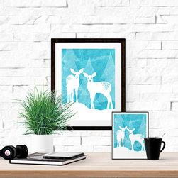 Baby Deer Pair in Snowy Woods (8x10) - **Instant Download**   Printable Poster   White Baby Reindeer In Snowy Woods