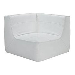 "LexMod - Align Leather Corner Sofa in White - Align Leather Corner Sofa in White - There are sectional sets that claim to be modern by portraying some enlightened path forward. But for every one of these efforts, is an equal and opposite reaction. The more we use our own guile to paddle forward, the more the stream of present reality seems to rush against us. Align was designed as an attempt to wash away those hindrances that obstruct growth. If there had been a choice, the designers would have kept Align just that. But while a sectional sofa set needs to be made curved, the intent was to stay true to the original concept. Align comes generously padded and upholstered in bonded leather, with slight button tufting and trim for only the gentlest effect. Set Includes: One - Align Leather Corner Modern sectional corner sofa, Bonded leather, Foam padded cushions, Slight trim and button tufting, Wipe clean with damp cloth, Solid wooden legs, Black plastic foot glides Overall Product Dimensions: 40""L x 40""W x 29.5""H Seat Dimensions: 24""L x 40""W x 15""H - Mid Century Modern Furniture."