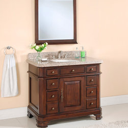 """42"""" Rutledge Espresso Vanity with Mirror - 8"""" Faucet Holes - Polished Tai Red Gr - With ample storage hidden behind matching cabinet doors, this vanity adds class and elegance to any bathroom. Pair with the widespread faucet of your choice to complete the look."""
