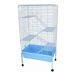 "YML - 5 Levels Small Animal Indoor Cage with Stand in Blue - Features: -Cage with stand. -2 Pull down front door and 1 on the top. -4 Platforms and ladders (0.5"" bar spacing) to promote exercise. -Heavy duty 8.5"" deep plastic base avoid padding drop on the floor. -Body wire 0.85"" bar spacing. -Stand easy to move around. -Powered coated finish. -Cage dimensions: 52"" H x 32"" W x 20"" D. -Overall dimensions: 60"" H x 32"" W x 20"" D."