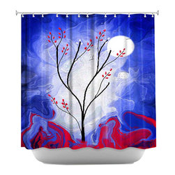 DiaNoche Designs - Touch the Moon Shower Curtain - Sewn reinforced holes for shower curtain rings. Shower curtain rings not included. Dye Sublimation printing adheres the ink to the material for long life and durability. Machine washable. Made in USA.