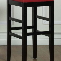 Armen Living - Sonata Backless Microfiber Barstool in Red - 1.8 density foam. Ebony finished wood frame. Warranty: One year limited. Made from microfiber. 14.5 in. L x 14.5 in. W x 30 in. H (12 lbs.)Refined design profile and upright posture of the backless Sonata barstool whispers of minimalism.