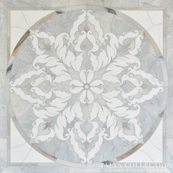 Rumi Medallion, Talya Collection by Sara Baldwin for Marble Systems - Rumi medallion, a stone waterjet mosaic shown in Avenza polished, Skyline honed, Snow White polished, is part of the Talya Collection by Sara Baldwin for Marble Systems.