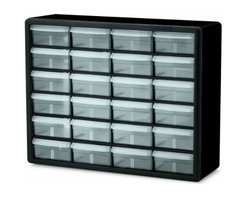Akro-Mils - 24 Large Drawer Storage Cabinet - Cabinet stacks securely and can also be wall mounted with keyhole slots. Clarified polypropylene, dividable drawers offer easy content identification. Finger-grip drawer pulls provide easy access and rear stop tabs prevent contents from spilling. Optimize storage space and improve parts protection.