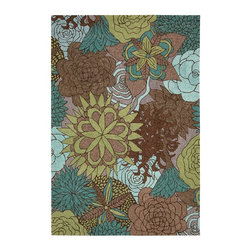"Nourison - Country & Floral South Beach 8'x10'6"" Rectangle Aqua-Brown Area Rug - The South Beach area rug Collection offers an affordable assortment of Country & Floral stylings. South Beach features a blend of natural Aqua-Brown color. Handmade of 100% Polyester the South Beach Collection is an intriguing compliment to any decor."