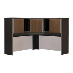 "Bush - Bush Series A 48"" Corner Hutch in Sienna Walnut/Bronze - Bush - Hutch - WC25567 -  Expand the storage space on your Sienna Walnut Corner Desk with this 48"""" corner computer hutch. It includes three cabinet doors for storage with two open cubbies on either side for open storage. The corner computer hutch also features two fabric covered tack boards that are ideal for notes and memos. This corner computer hutch is finished in Sienna walnut and comes ready to assemble. Features:"