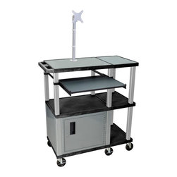 H. Wilson - 36 in. Presentation Station w LCD Mount and Cabinet - Includes lock with a set of two keys and electric assembly. Reversible inlays for smooth work surface. Pull-out shelf ideal for laptop and keyboard. Three injection molded plastic shelves. 20 gauge steel cabinet. Locking steel cabinet panels fit firmly into the specially molded leg slots. Recessed chrome handle. Cable management access in back cabinet panel. 1.5 in. square legs that will not chip, warp, crack, rust or peel. 0.25 in. safety retaining lip and a raised texture surface to enhance product placement and ensure minimal sliding. Six 4 in. silent roll. Full swivel ball. Heavy duty 4 in. casters, two with locking brake. 3-outlet UL listed electrical assembly with a 15 ft. cord. Made high density polyethylene, plastic and recycled materials. Assembly required. Made in USA. Distance between shelves: 16.5 in.. Shelf: 36 in. W x 18 in. D x 1.5 in. H. Overall: 36 in. W x 18 in. D x 42.5 in. H. Parts Manual. Warranty
