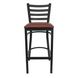 """FlashFurniture - Hercules Series Ladder Back Metal Restaurant Bar Stool - Features: -Heavy duty restaurant bar stool. -Black powder coated frame finish. -Black vinyl upholstered seat. -75"""" Thick plywood seat. -18 Gauge steel frame. -Foot rest rung. -Ladder style back. -Two curved support bars. Dimensions: -Seat size: 16.25"""" W x 16.5"""" D. -Back size: 14.25"""" H x 15"""" W. -Overall: 42.25"""" H x 17"""" W x18"""" D, 18 lbs."""