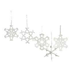 Zodax - Zodax Snowflake 9-Piece Porcelain Ornaments - Zodax - Tree Ornaments - NCX2043 - Snowflake Porcelain Ornaments
