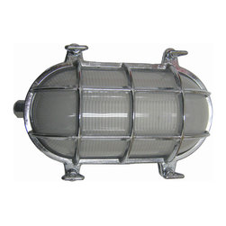 Shiplights - Medium Oval Cage Light (Solid Brass, Interior & Exterior Use), Chrome, Exterior - Our Medium Oval Cage Light is made of solid brass and can be used indoors or outdoors in a wide variety of applications.