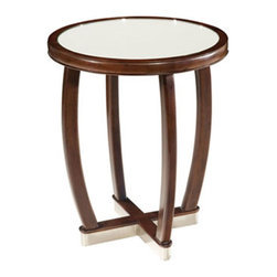 Belle Meade - Dominque Art-Deco Round Side Table - This finely constructed art-deco round side table is made of solid maple.  It features a beautiful mirrored top and satin nickel base.  This table will make a dramatic addition to your room.