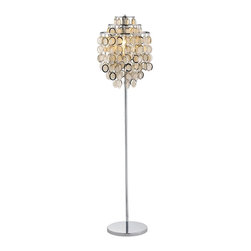 Adesso - Shimmy Floor Lamp - Highlighted by three tiers of paper discs framed in gleaming chrome colored metal, this contemporary floor lamp will bring a fresh, artistic look to your home's decor. Perfect for contemporary, urban spaces, the sculptural lamp is designed to unite both movement and light and will be an artistic addition to any space. 3-Tier shade. Chrome framed round paper disks dangle. 3-Way touch sensor switch. 60-Watt.. Height: 64 in.. Base: 1 in. thick x 12 in. Dia.. Shade: 22 in. H x 6 in. Dia. top tier x 10 in. Dia. middle tier x 15 in. Dia. bottom tier. Tiers are 3 in. apartEach Shimmy lamp has a 3-Tier shade. Several rows of 2.5 in. Chrome framed round paper disks dangle from each tier. The disks rotate freely, catching light from inside and outside the shade. Stick body and flat round base are chrome. 3-Way touch sensor switch. 60-Watt. 64 in. Height. Base: 1 in. Thick, 12 in. Diameter. Shade: 22 in. Height, 6 in. Diameter top tier, 10 in. Diameter middle tier, 15 in. Diameter bottom tier. Tiers are 3 in. apart.