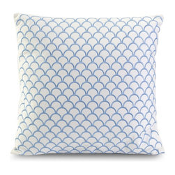 iMax - iMax Suryan Embroidered Accent Pillow X-98179 - Blue embroidery creates a shell inspired pattern in the Suryan accent pillow, made with 100% cotton.