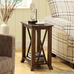 Monarch - Monarch I 3384 Veneer Accent Side Table - Cherry Brown - I 3384 - Shop for Tables from Hayneedle.com! Charming details and a warm elegance make the Monarch I 3384 Veneer Accent Side Table - Cherry Brown the perfect side table for your well-appointed home. The rich cherry finish and cross-bar accents provide a welcoming appeal. Ideal for display it's the finishing touch that completes your style. Assembly required.About Monarch InternationalMonarch International Inc. is a leader in home style products manufactured from metal and combinations of wood and glass. Their roots lie in manufacturing metal badges and buttons for the Indian Army. From there they evolved and diversified into other products and Monarch started selling hand-crafted goods and lifestyle accessories in the United States and other global markets. Their corporate policy is based on the principles of partnership trust service and an unwavering commitment to quality products.