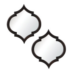 Sterling Industries - Horizonte In Pessoa Bronze - The Horizonte In Pessoa Bronze have a wonderful Spanish feel.  The mirrors have a dark wood frame that looks wonderful next to each other.  A very playful pattern emerges with the two mirrors next to each other.