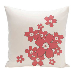 e by design - Floral White and Coral 16-Inch Cotton Decorative Pillow - - Decorate and personalize your home with coastal cotton pillows that embody color and style from e by design  - Fill Material: Synthetic down  - Closure: Concealed Zipper  - Care Instructions: Spot clean recommended  - Made in USA e by design - CPO-NR6-Original-16