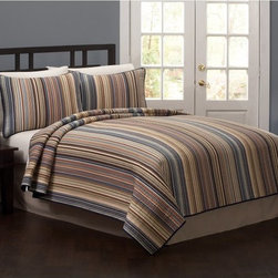 American Traditions - Morning Stripe Quilt Sets Multicolor - QS3795FQ-2300 - Shop for Home Furnishings and Accents from Hayneedle.com! Morning Stripe Quilt Set features favorite colors and classic small-scale stripes that make for comfortable nights and pleasant awakenings. This cotton quilt is easy to keep clean and comes with matching decorative pillow shams.Comforter Dimensions:Twin: 86L x 68W in.Queen: 86L x 86W in.King: 90L x 100W in.About Pem AmericaMakers of high-quality handcrafted textiles Pem America Outlet specializes in bedding that enhances your comfort and emphasizes the importance of a good night's rest. Quilts comforters pillows and other items for the bedroom are made with care and craftsmanship by Pem America. Their products cover a wide range of materials styles colors and designs all made with long-lasting quality construction and soft long-wearing materials. Details like fine stitching embroidery and crochet decorations and reinforced seaming make Pem America bedding comfortable and just right for you and your family.
