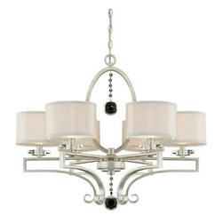 Savoy House - 6 Light Chandelier with Fabric Shades from the Rosendal Collection - Savoy House 1-250-6 Rosendal 6 Light Chandelier with Fabric ShadesContemporary collection shines in a brilliant Silver Sparkle finish, accentuated by a large crystal drop and fabric shades that glisten in iridescent ivory.Features: