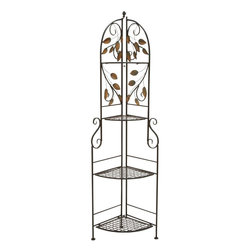 Benzara - Corner Rack with Modern or Conventional Style Decor - Display your summer planters or flowers beautifully with this three tier corner stand. The fascinatingly designed corner stand adds to the elegance of your home decor and lets you store your valued plants and flowers with style. It will look amazing on your deck or patio. Enhance its utility features by using it in your living room as a corner stand to display your selective showpieces. Made of the finest quality metal, this metal corner stand with four shelves has adorable designs carved on it. Durability and long life span are other distinctive features of this stand. Resistant to abrasion, you can add it to your garden or interior decor with utmost ease. This corner stand is compact, occupies less space and ensures optimum utility. With dark brown color & a golden brush on its leafy design, rest assured it fits well with any of your modern or conventional style decor.