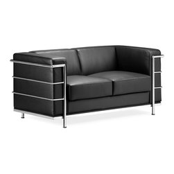 "Zuo Modern - Black Leather Modern Loveseat - What do you get when you mix old world custom black leather with the fashionable shine and interest of chrome?  This loveseat!  The cube shape allows for a high back and sides, making this modern leather loveseat cozy for cuddling.  The Black Leather Upholstered Loveseat with Steel Frame takes pride of place in any room setting by virtue of its outstanding classic style and sumptuous comfort.  The Black Italian Leather Love Seat with Steel Frame Fortress Design recalls the groundbreaking furniture designs of Le Corbusier and the renowned Bauhaus school. * Black Italian Leather Wrapped Cushions. Steel Tube Chrome Frame & Legs. 26"" H x 30"" W x 76"" L. Seat: 16"" H"