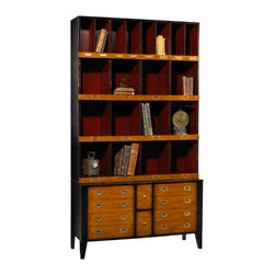 French Heritage - Upholsterer'sTrimmings Organizer, Black Red and Light Cherry Finish - Our clean, scholarly and attractive units bring a well tailored order to your den, library or home office.- Filing Cabinet Base.- Mahogany/Cherry.- Weight: 110lbs