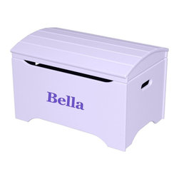 Little Colorado - Little Colorado Solid Wood Toy Storage Chest with Personalization - Lavender Fin - Shop for Childrens Toy Boxes and Storage from Hayneedle.com! Give your little one a space they know is just for them when they see their name on the Little Colorado Solid Wood Toy Storage Chest with Personalization - Lavender Finish. Choose your favorite personalized name from black blue green pink purple red or white text in vinyl letters. Have their name on the face of this hardwood toy chest will be the highlight of your child's playroom. The arch-top lid moves on smooth locking hinges. Some assembly is required. Dimensions: 29L x 19W x 18H inches product weight: 37 lbs. Little Colorado is a Green CompanyAll finishes are water-based low-VOC made by Sherwin Williams and other American manufacturers. Wood raw materials come from environmentally responsible suppliers. MDF used is manufactured by Plum Creek and is certified green CARB-compliant and low-formaldehyde. All packing insulation is 100% post-consumer recycled. All shipping cartons are either 100% post-consumer recycled or are made of recycled cardboard. About Little ColoradoBegun in 1987 Little Colorado Inc. creates solid wood hand-crafted children's furniture. It's a family-owned business that takes pride in building products that are classic stylish and an excellent value. All Little Colorado products are proudly made in the U.S.A. with lead-free paints and materials. With a look that's very expensive but a price that is not Little Colorado products bring quality and affordability to your little one's room.