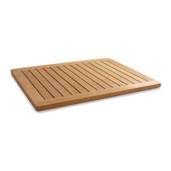 "Frontgate - Teak Spa Mat - Medium (18"" x 24"") - Resists fungi for a cleaner shower or bath environment. Vented and ribbed for comfortable, slip-free footing. Constructed of sustainably harvested teak. Narrow drainage gaps assure a comfortable surface and proper drainage. Rubber pads grip the floor for stability. Step from the shower onto this Teak Spa Mat and immediately notice the surprisingly luxurious feel of fine-grade teak wood. This slip-free mat is lightly coated with mineral oil to provide a beautiful finish.  .  . . . . Easy to care for."