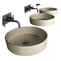"ModoBath - RHOPL Vessel Sink 16.1"" - If you're remodeling an older bath and you want a fresh, contemporary look, you can't go wrong with this round vessel sink. Made in Italy, it's finished in brushed platinum for a subtle sheen."
