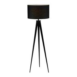"Adesso Inc. - Director Black Floor Lamp - Each Director lamp has a black metal tripod base with a black poly/cotton drum shade. On/off rotary socket switch. 150 Watt incandescent or equivalent CFL bulb. 62.5"" Height. Base: 48.5"" Height, 18"" Between each leg. Shade: 12"" Height, 20"" Diameter."