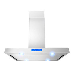 "AKDY - AKDY AK-Z627I-PS2 Euro Stainless Steel Island Mount Range Hood, 36"" - This 36-inch ventilation hood can be mounted over an island or peninsula. The bold stainless steel hood can be installed over many 36- and 30-inch ranges and cooktops including some commercial-style cooking surfaces. Four LED lights provide exceptional visibility above the cooktop surface. 3-speed hidden Fan control Creates an uninterrupted design with hidden controls that make it easy to select fan speed and operate lights. Convertible to recirculating vent system allows you to install your ventilation systems in kitchens without direct venting to the outside and features a charcoal filter to keep air fresh. Dishwasher safe Mesh filters helps keep the kitchen fresh when drawing steam grease and odors through the hood."