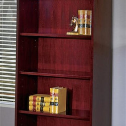 Office Star - 5-Shelf Wood Bookcase for Home/Office - Mendo - Color: MahoganyMade of Wood. 5-Shelf Bookcase. Complex Shape. Enhanced Features include Legal-Width Desk Pedestals, Austere 8. Pictured in Mahogany. Some assembly required. 36 in. W x 16 in. L x 79 in. H