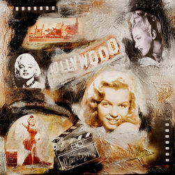"ORIGINAL PAINTINGS :::: HOLLYWOOD REGENCY - MARILYN II (TITLE) 30"" x 30"" ARCHIVAL THICK MIXED-MEDIA COLLAGE PAINTING WITH HEAVY RANDOM RESIN COATING - FIRED WITH TORCH GUN TO SEAL. ORIGINAL ONE OF A KIND WORK OF ART. MIXED-MEDIA CANVAS COLLAGE PAINTING ""MARILYN II"" FROM MY ORIGINAL AMERICANA - VINTAGE HOLLYWOOD SERIES, CONTEMPORARY MODERN, SEMI-ABSTRACT PAINTING PAYS HOMAGE TO MARILYN MONROE, VINTAGE OLD HOLLYWOOD, FAMOUS GRAUMAN'S CHINESE THEATRE, FAMOUS HOLLYWOOD SIGN, AND RARE SCREEN TEST FROM ""RIVER OF NO RETURN"". TEXTURED WITH HIGHEST GRADE ARTISTIC HEIRLOOM QUALITY MEDIUMS & CRUSHED STONE ART MEDIUM FROM ITALY. PROFESSIONALLY PACKED WITH INSURANCE WITH CERTIFICATE OF AUTHENTICITY, READY TO HANG. BOLD STATEMENT PIECE OVER LARGE FURNITURE, HOME THEATRE, OR HOLLYWOOD REGENCY HOME OR BUSINESS DECOR. I AM CURRENTLY UP FOR MUSEUM REVIEW FOR MY ORIGINAL AMERICANA SERIES."