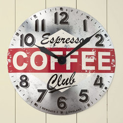 """Viva Terra - Cafe Clock - As timely as an afternoon espressobreak and as timeless as the decorin European cafés and bistros, ourgrand wall clock adds pick-me-upstyle to any kitchen. Its large handsglide over a silvered surface detailedwith a replica of a vintage label.Runs on a single AA battery (notincluded). 19.75""""DIAM x 2.75""""D"""