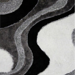 Rug Factory - Shaggy Design 29 Black 8' x 11' Size Area Rug - Shaggy design 29 black 8' x 11' size area rug. These shags offer a dense, shed free, easy to clean and sensuously soft surface that is sure to be a toe curling pleaser. Vibrant colors, geometric patterns and designs. are hand tufted using a blend of ultra fine raw materials for a plush and soft feel.