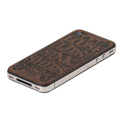 Lazerwood - Loose Lips iPhone Cover, Black - Low profile, real wood veneer cover for iPhone. Peel-and-stick backing makes the cover easy to apply and remove without damage to the phone. Designed and made in Seattle, WA.