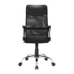 LexMod - Sights High Back Ergonomic Office Task Chair in Black - Take charge of your day with this versatile paradigm of comfort and style. Sights features pneumatic height adjustment, a chrome nylon base, dual wheel carpet casters and a full 360 degree swivel. Also features a butterfly mechanism that allows the chair to intuitively adjust when the sitter leans backwards.