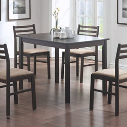 Monarch Specialties - Monarch Specialties 5 Piece 44x30 Rectangular Dining Room Set in Cappuccino - This casual dining set offers classic styling that will blend with any decor. The rectangular table features a solid wood top, straight edges and sleek square legs. The armless side chairs feature a ladder back design with padded upholstered seating for comfort. The clean lines of this set paired with a warm cappuccino finish, will help create a timeless look that you and your family will love.