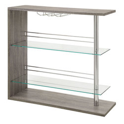 Coaster - Bar Table, Reclaimed Wood - Entertain in style with this sleek contemporary bar unit featuring two tempered glass storage shelves, a stemware rack and chrome accents. Choose a bar unit that fits your home decor. Available in four finishes: glossy black, cappuccino, glossy white and a reclaimed wood look finish.