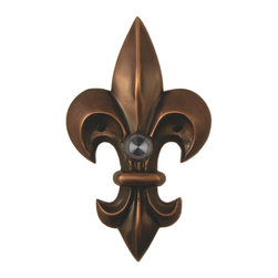 Waterwood - Brass Large Fleur De Lis Doorbell in Oil Rubbed Bronze - The Waterwood Large Fleur de Lis doorbell is a symbol of French royalty, and is found in designs across Louisiana, especially in New Orleans. Displaying this doorbell will help you project a spirit of elegance from the front door of your home. This solid brass doorbell is crafted using the sand casting technique. It is then hand finished and coated with a protective lacquer to withstand the elements. Waterwood doorbells are easy to install and will add personality to your home. It comes with a lighted push button and mounting screws.